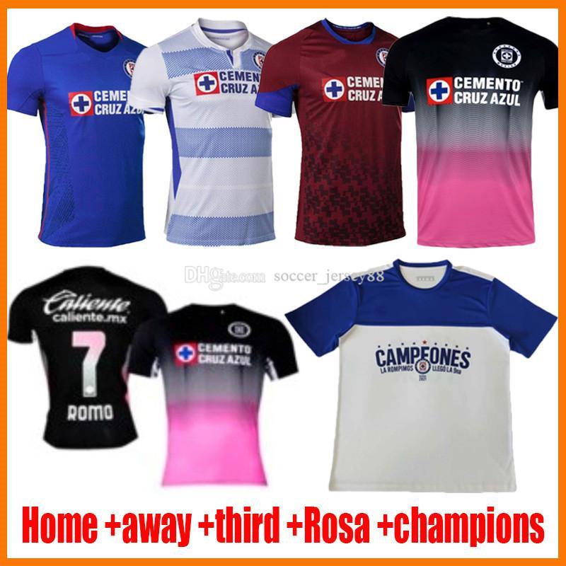 2021 CD Cruz Azul Soccer Jerseys Campeones Champions Rosa Kit Pink Black Home lejos Tercero 20 21 22 2022 Alvarado Rodriguez Pineda Escobar Romo Jersey Camisetas de fútbol