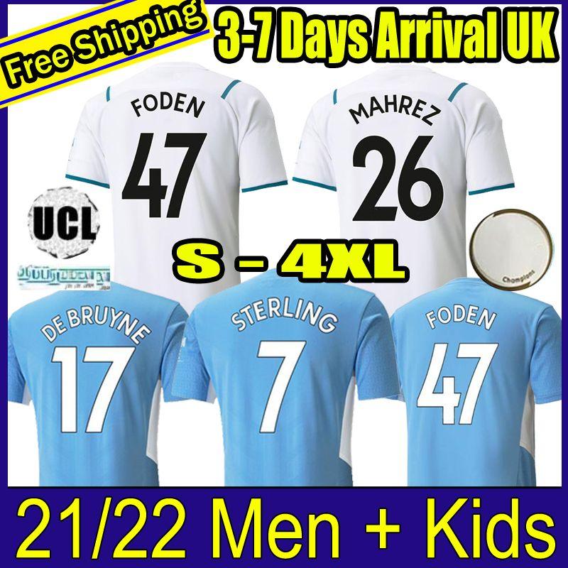 21 22 축구 유니폼 2021 2022 Kane Sterling Football Shirt 맨체스터 Kun Aguero de Bruyne Gesus Bernardo Mahrez Rodrigo Foden City 남성 키트 키트
