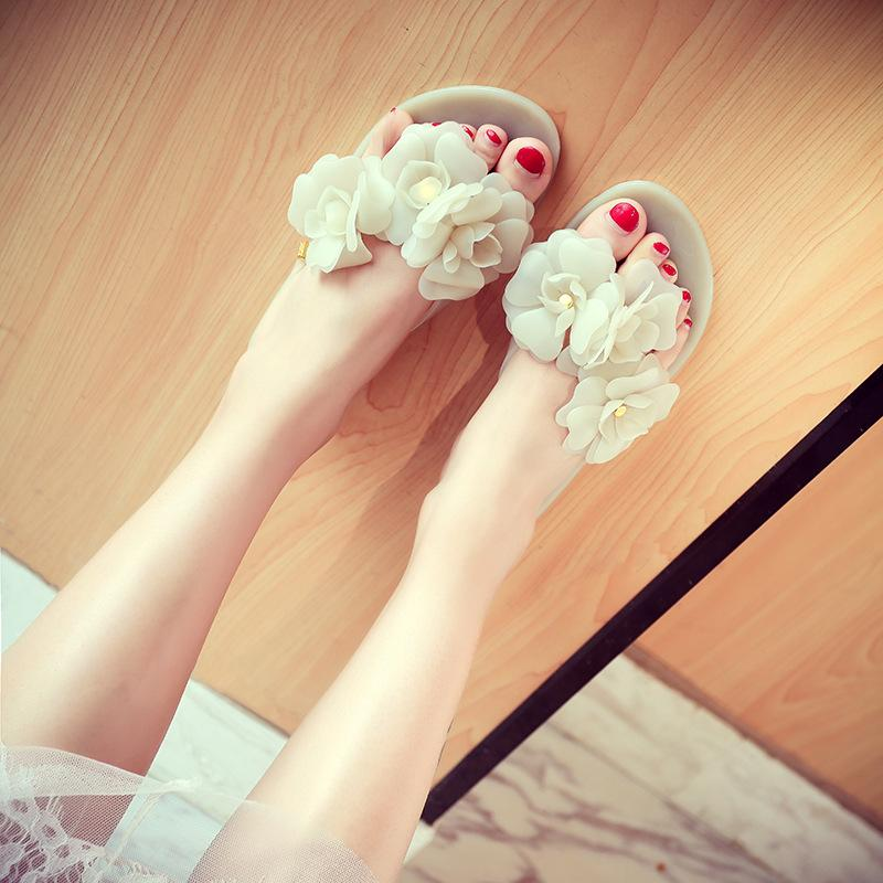 designer Summer Women Sandals Flip Flops Outside Women Slippers Female Beach Shoes with Floral Ladies jelly shoes