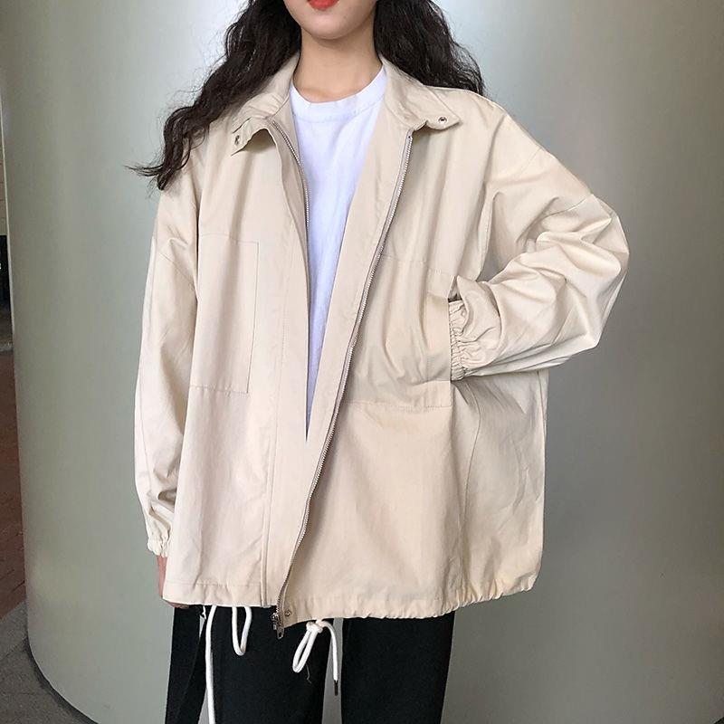 Women's Trench Coats Harajuku Korean Version Loose Thin Long-sleeved Y2K Windbreaker Sun Protection Coat Solid Color Retro Clothes Hoodie Al