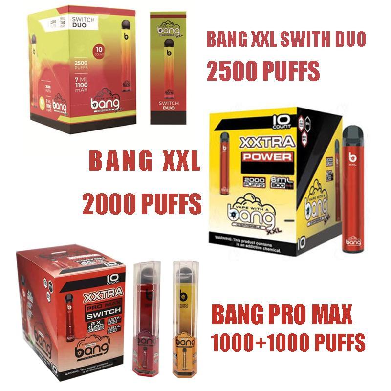 Bang XXL XXTRA PRO MAX 스위치 듀오 DUO Disaposable Cigarettes Vapes Pen 2000/2500 퍼프 6.0ml 5 % 용량 800/1100 MAH 배터리 24 색 PK Geek Elf Air Bar 3 스타일 스톡 사진