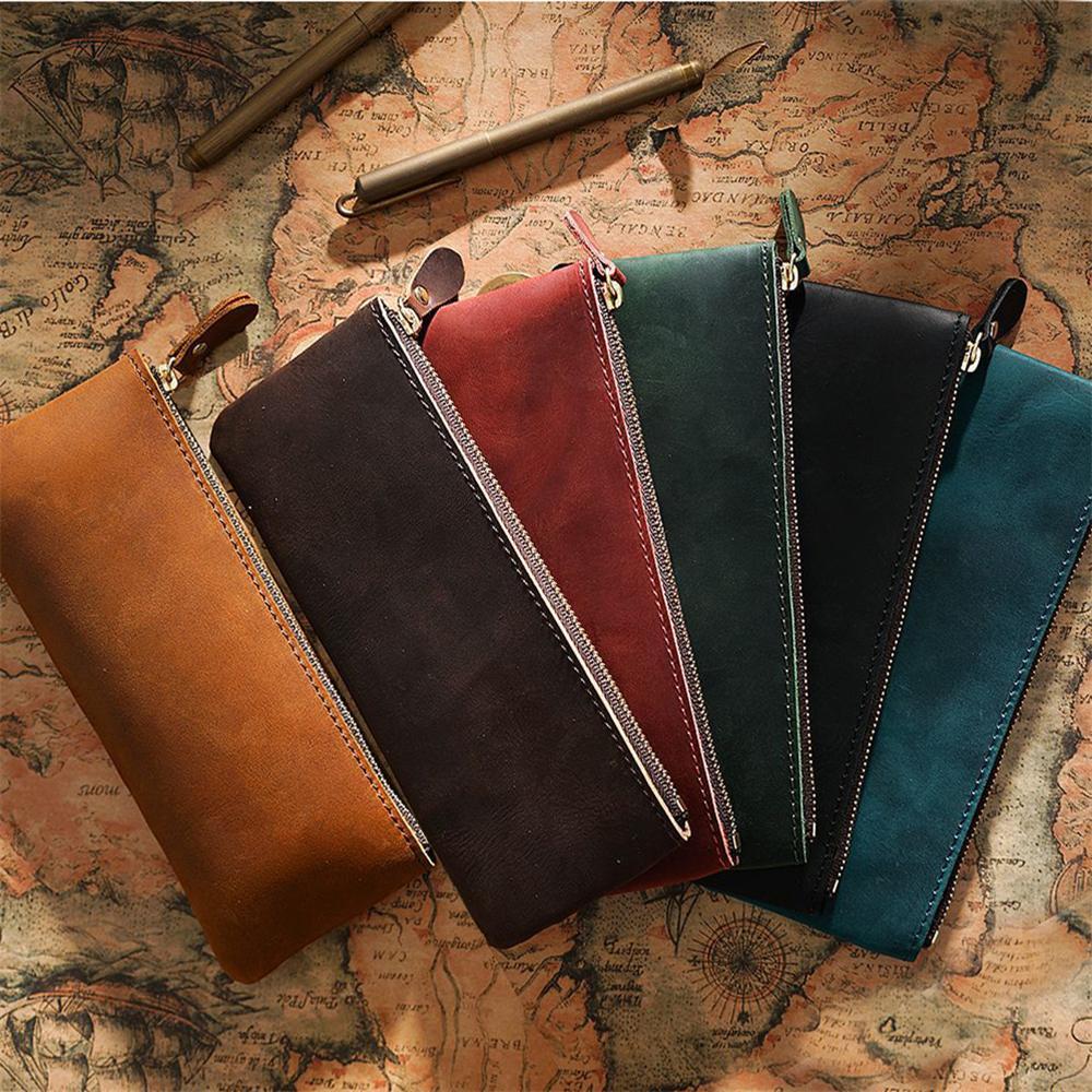 Caja de lápices de cuero vintage Classic Papelería Bolsa Durable Handy Pen Bolso PROFESIONALES HECHOS MANOS PAGENCAS KDJK2104