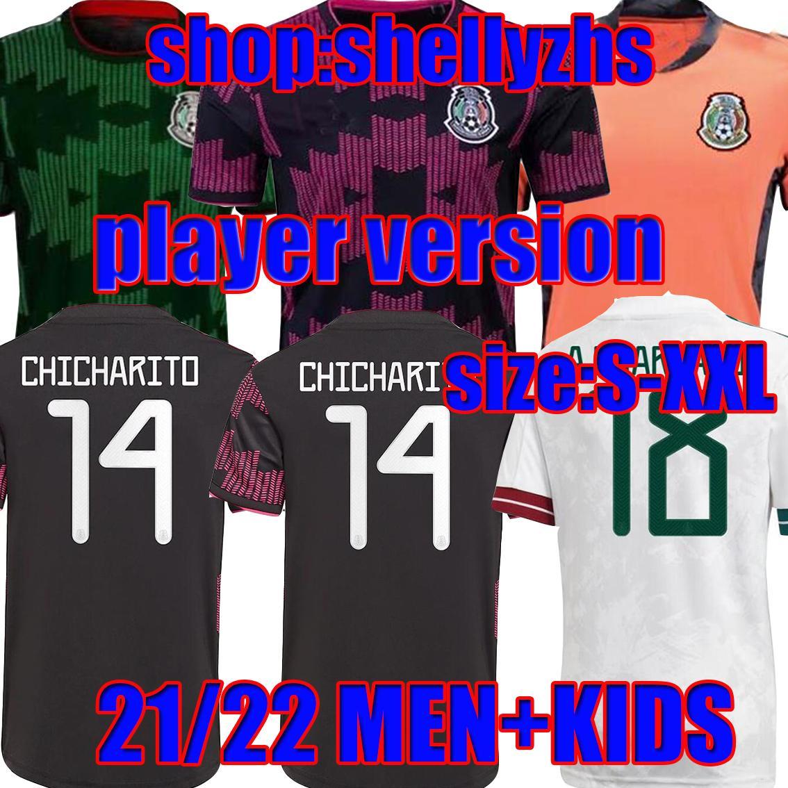Homens + Kids + Jogador Versão 2021 México Black Rosa Futebol Jersey Home Away 20 21 Chicharito Lozano dos Santos Camisa de Futebol Kit adulto Define uniformes