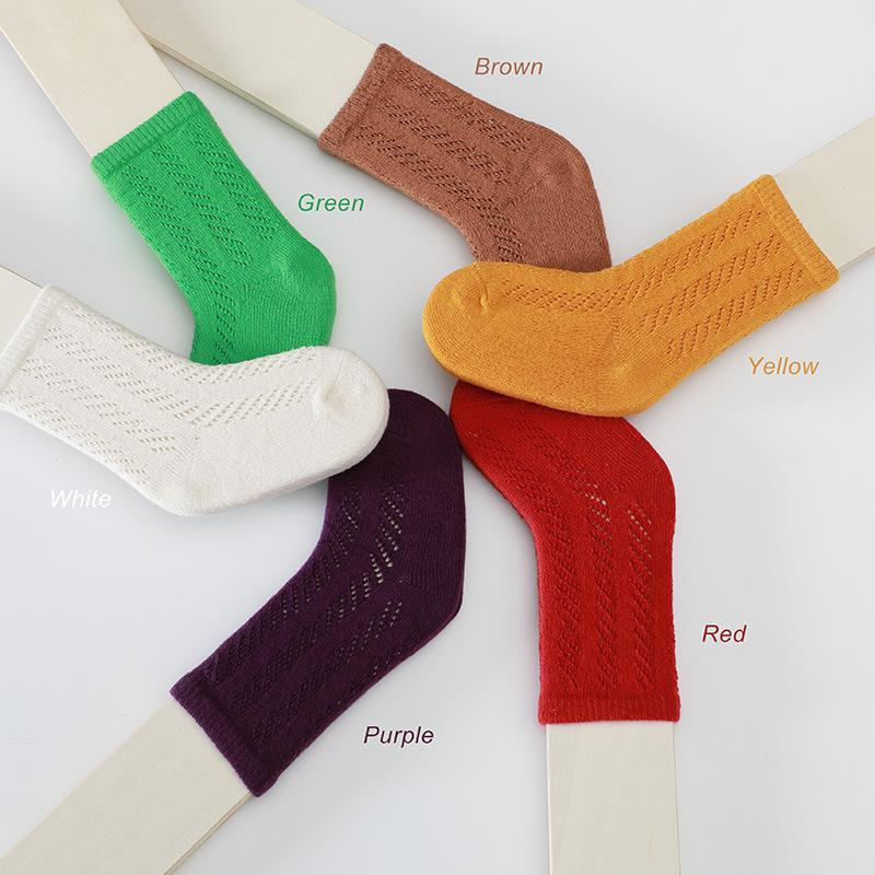 Calcetines niños bebé niño niña color sólido niño multicolor calcetín primavera verano transpirable cómodo algodón s / m / l