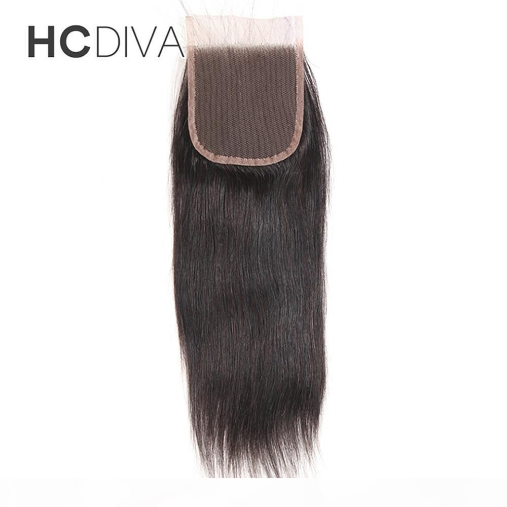 "100% Unprocessed Brazilian Peruvian Indian Malaysian Lace Closure Hair Weaves Closure Three Part 8-16""(4*4) Straight Weave Human Hair"