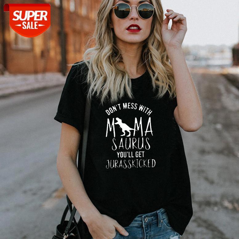 Не связывайтесь с футболкой MAMA женские повседневные свободные круглые шеи с короткими рукавами # Nu0i