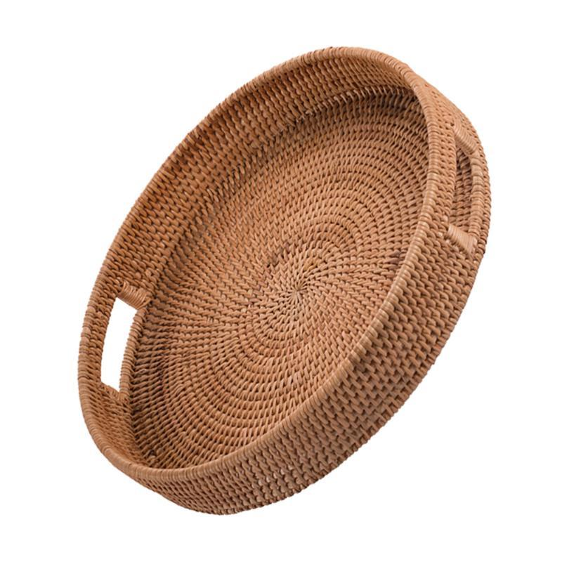 1 stück Handgewebe Obstplatte Rattan Basket Mehrzweckschale Aufbewahrungskörbe