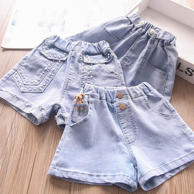 Shorts Children Summer Baby Girl Clothes Kids Dress Denim Jeans Soft Pearl Pants 2-7Y B4899