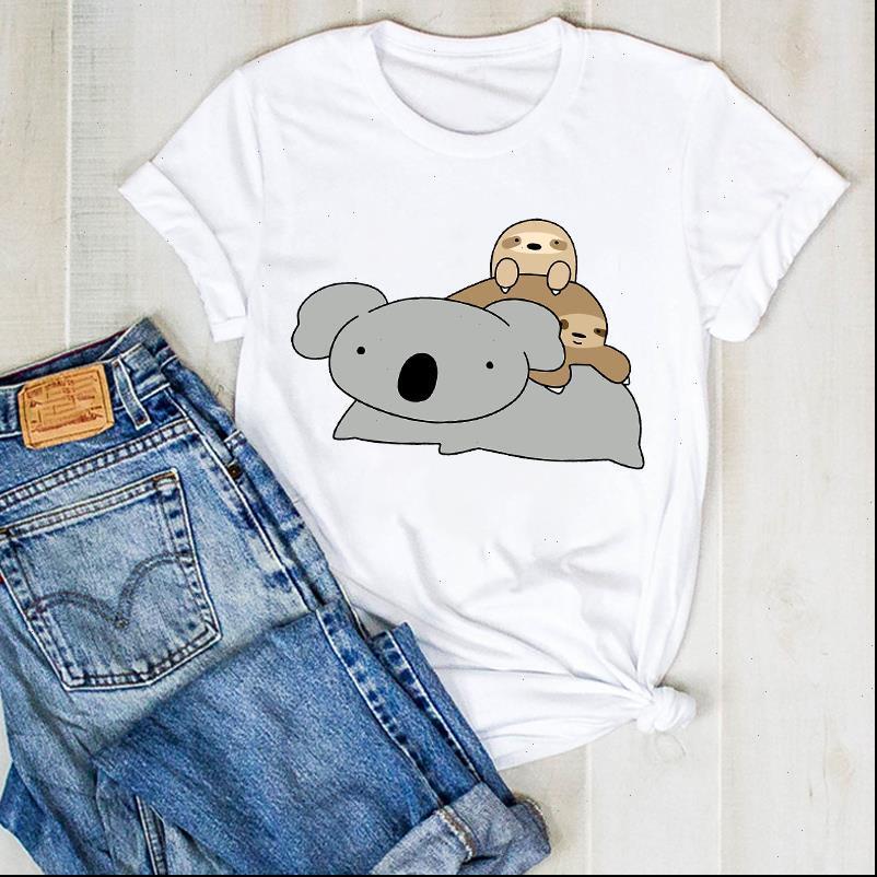 Mujer lady tops perezoso verano manga corta divertido dibujos animados ladies t tee womens top shirt shirt prenda gráfica