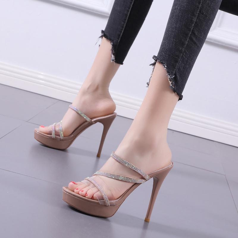 Damen Sandalen PVC Transparent Strass Hight Heels 12cm Absatzhausschuhe Freizeitplattformen Schuhe Femmes Sandales
