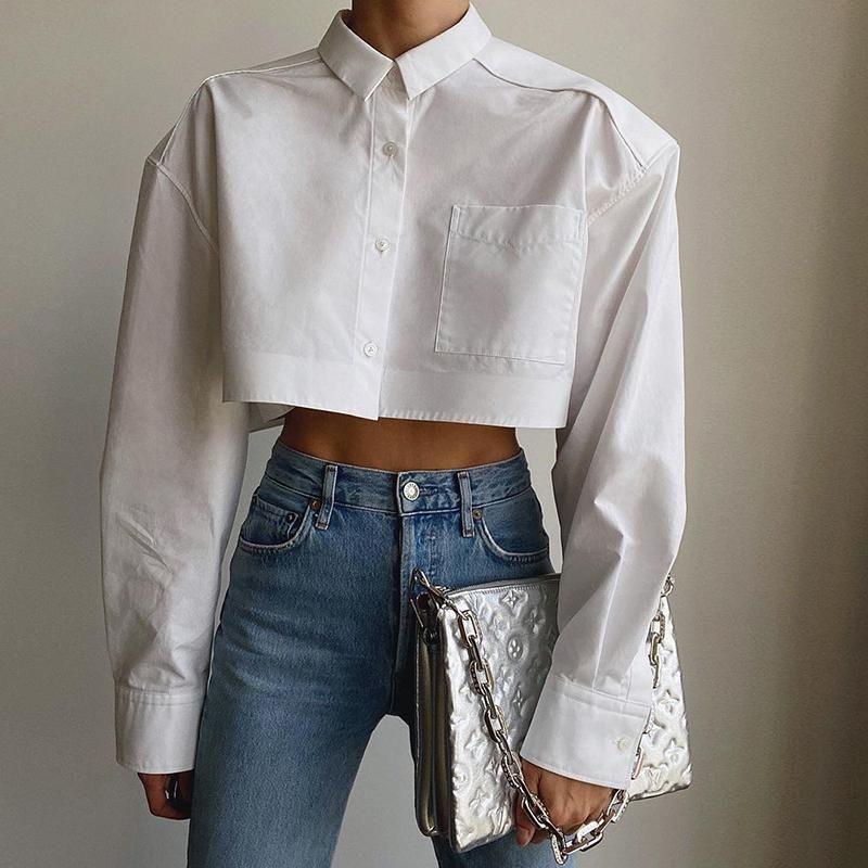 Women's Blouses & Shirts PUWD Women Stylish White Short 2021 Summer Fashion Ladies Vintage Tops Streetwear Female Chic Top Girls Cute