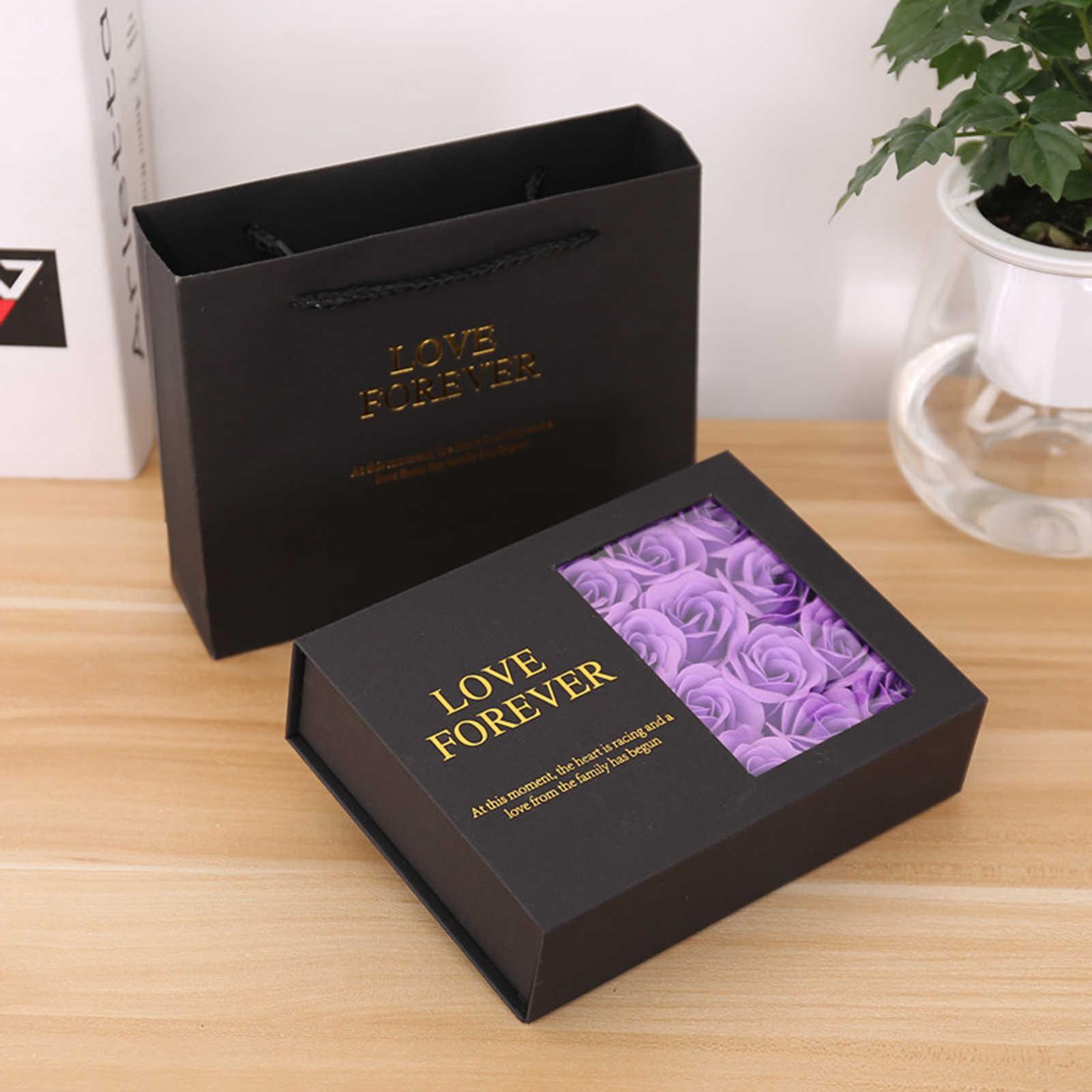 Güller Çiçekler Hediye Kutusu Sevgililer Günü Hediyesi Sabun Gül Kolye Yüzük Hediye Paketi Kutusu Sevgililer Düğün Kız Mevcut Y0712