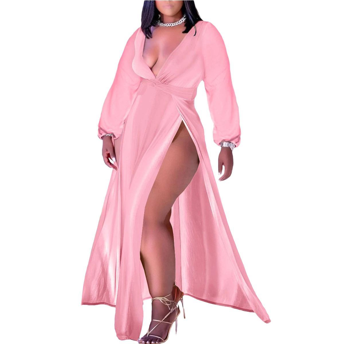 Dress da collo a V a maniche lunghe sexy Donne rosse Blu rosa Split elegante Plus Size 4xl 5xl Abiti Casual Party Chic Maxi Vestido