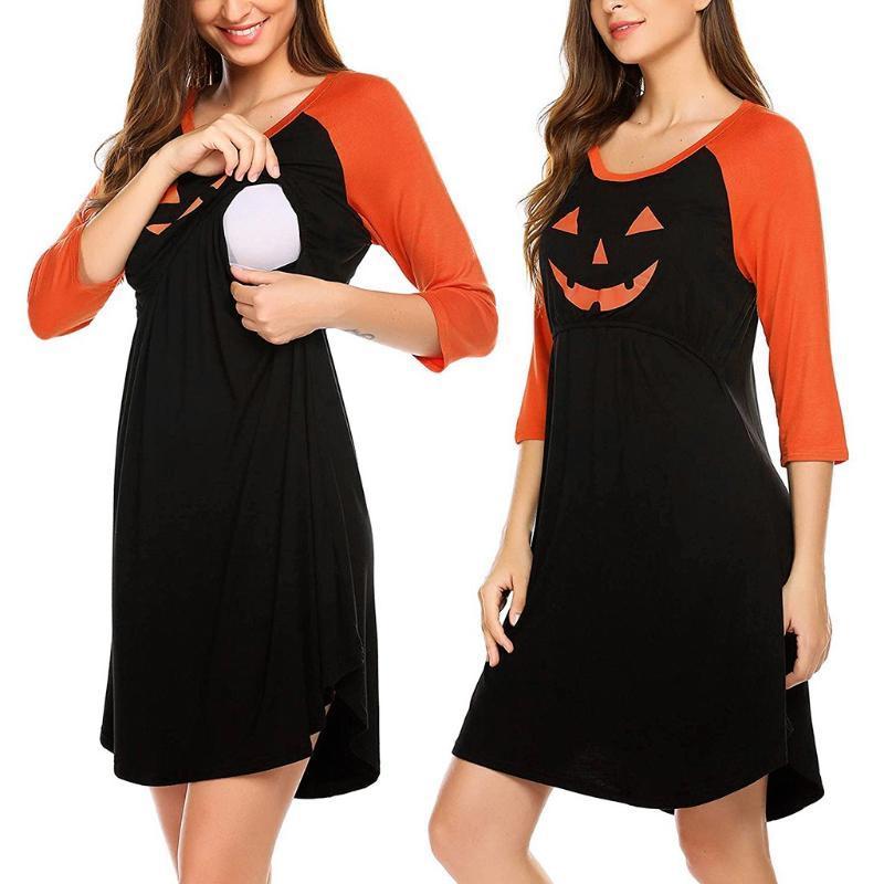 Halloween Maternity Dress 3/4 Sleeve Pumpkin Printed Nursing For Breastfeeding Ropa Embarazada Verano A2 Dresses