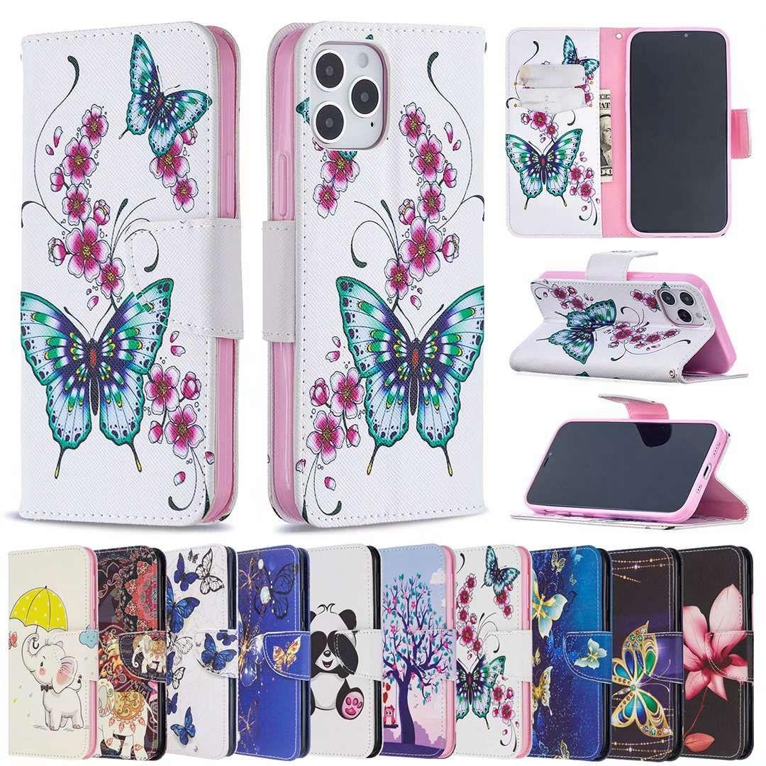 Colores Patrón impreso Flip Wallet TPU en cubiertas interiores Estuches para teléfono para iPhone 12 Mini 11 PRO XS MAX XR X 7 8 6S PLUS SE2 LG K42 K61 K51 K40 K50 / Q60 Stylo 5 4 G7