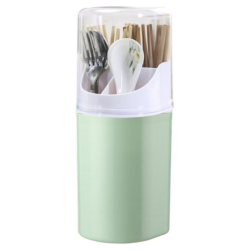 Storage Bottles & Jars Detachable Cutlery Rack Kitchen Chopstick Tube 4 Plastic With Cover (Green)
