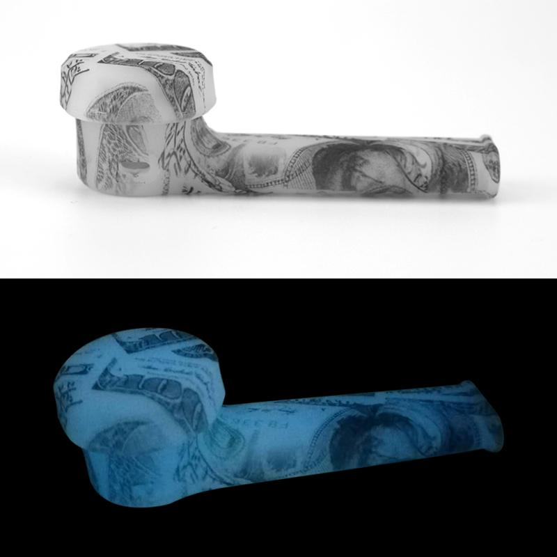 Fluorescence Silicone Patterned Smoking Pipes Luminous Rubber Hand Pipe Glow In The Dark Cigar Smoke Water Bongs Accessories
