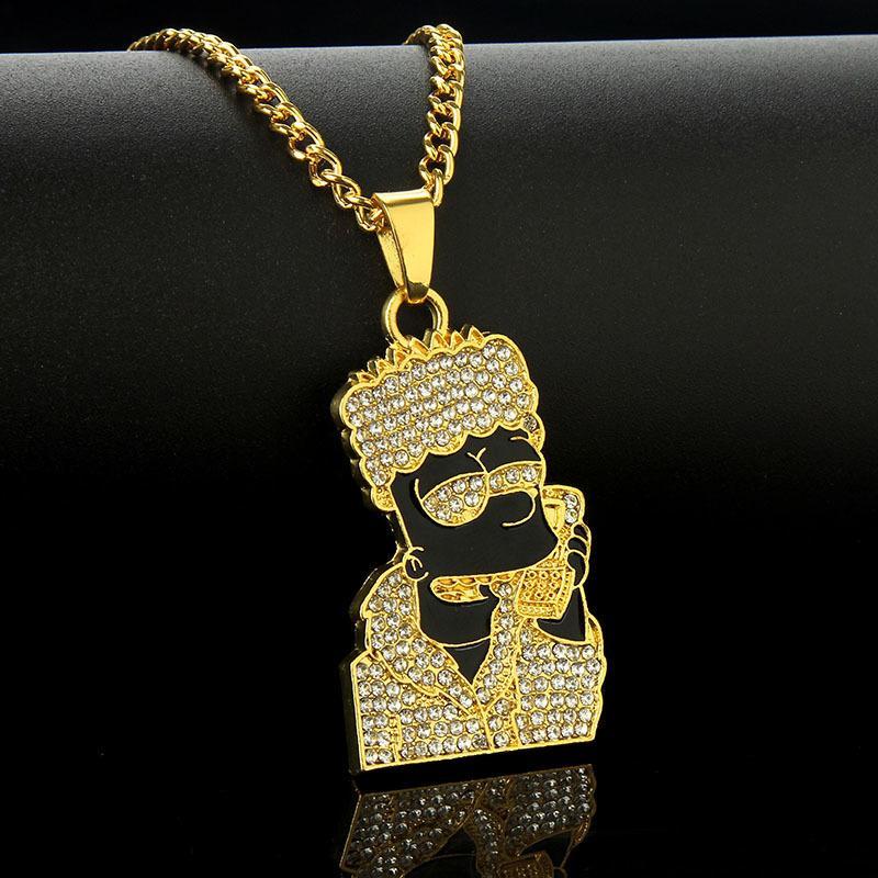 YUTONG 2020 Hip Hop Jewelry Dibujos animados Simpsons Head Colgante Collares Mujeres Hombres Oro Plata Color Cadena Larga Esmalte Hiphop Collar Regalo