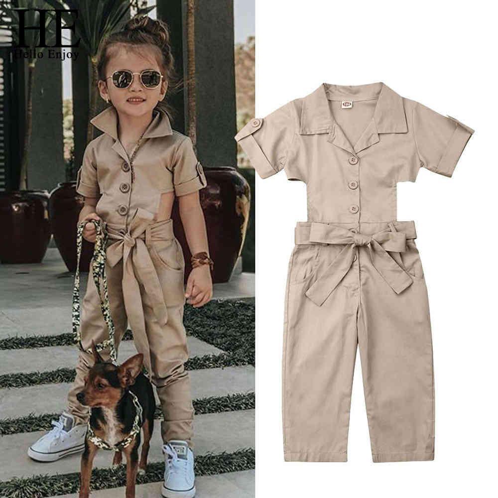 Conjuntos de roupas de crianças para meninas crianças roupas de verão jumpsuit khaki um-pedaços casual infantil moda 210508