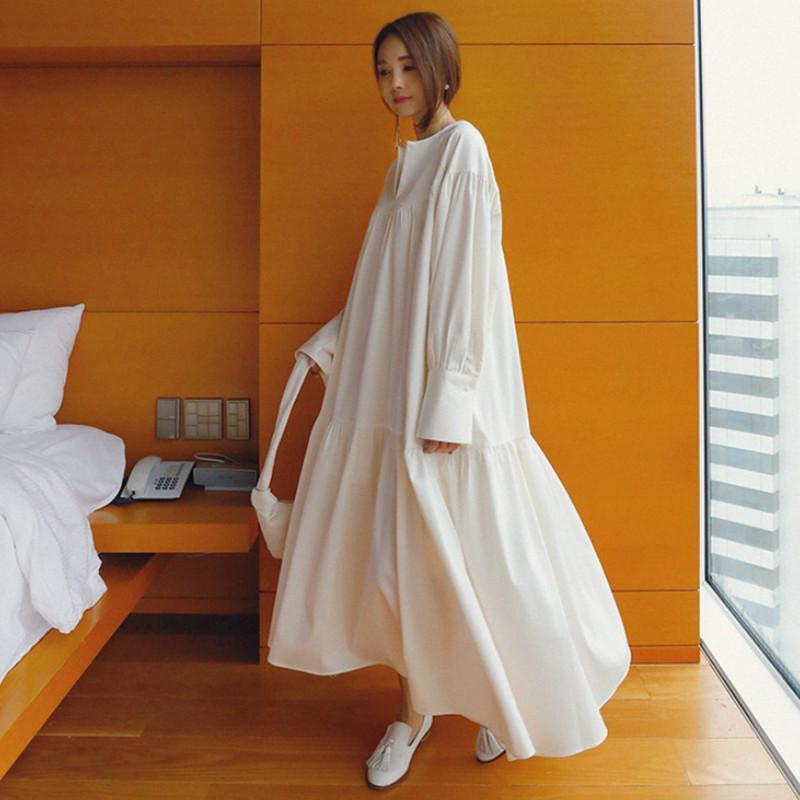 Bahar Kore Tarzı Katı Gevşek Büyük Boy Uzun Kollu Ruffles Vneck Ruffled Yan Kadın Yaz Gömlek Elbise QG296 210510