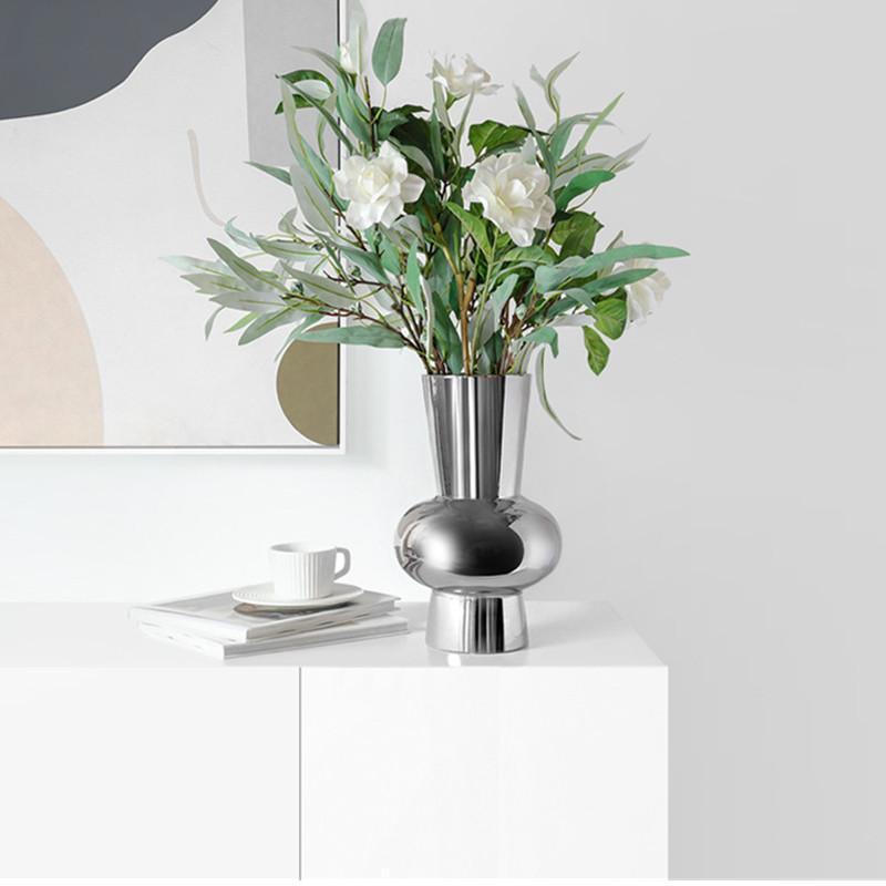 Househol Formie Electroplate Ceramics SilverColour وعاء الشكل إناء زهرة ترتيب غرفة نوم محلات سطح المكتب الديكور لينة K459 المزهريات