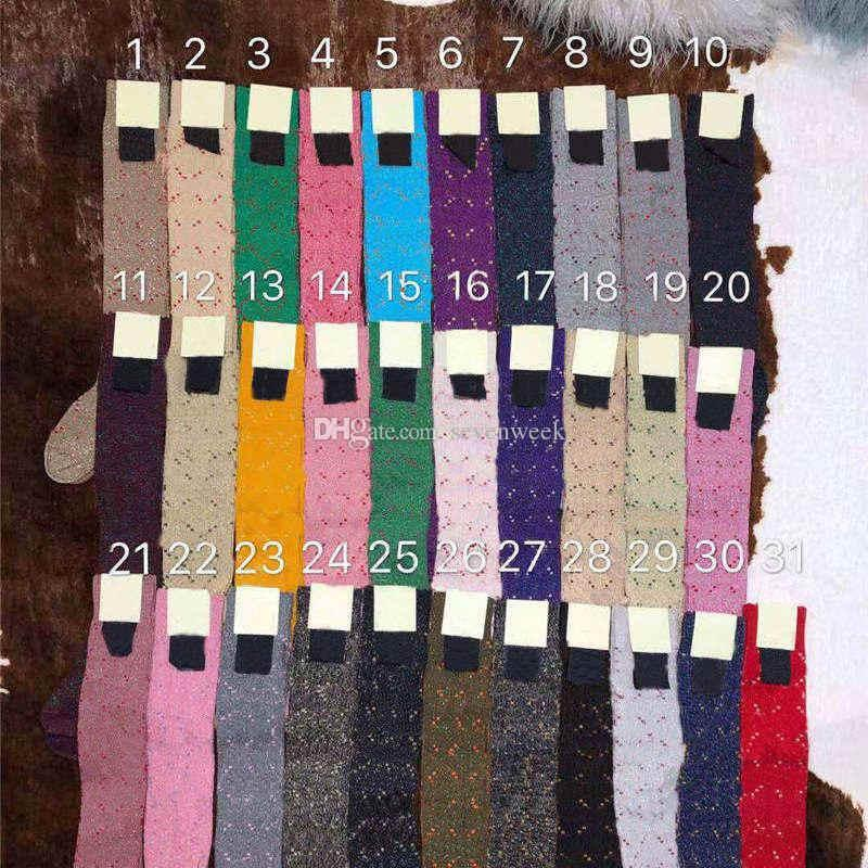 다채로운 편지 인쇄 여자 긴 스타킹 양말 패션 캐주얼 여자 코튼 양말 여자 야외 스포츠 중간 튜브 스타킹 35 색상