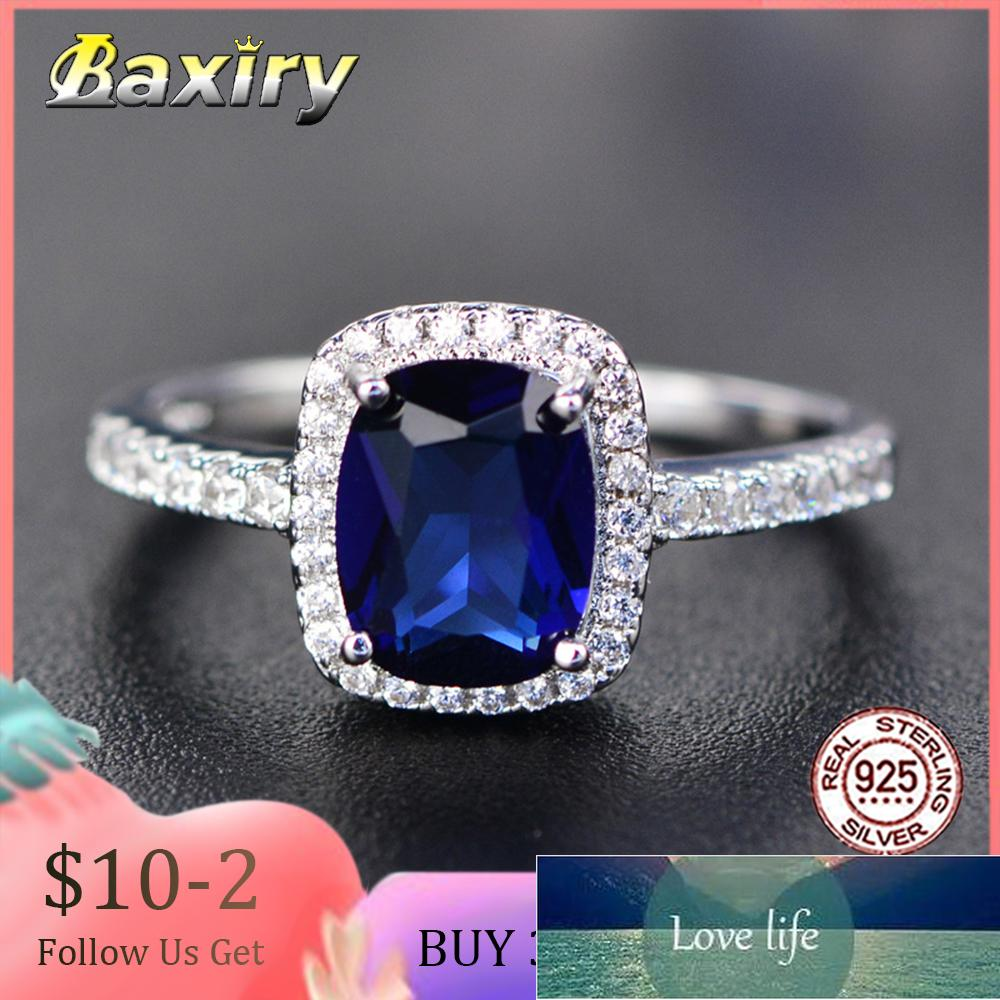 Trendy Aquamarine Amethyst Rings 925 Sterling Silver Woman Gemstone Silver 925 Ring Natural For Jewelry Blue Sapphire Ring Party