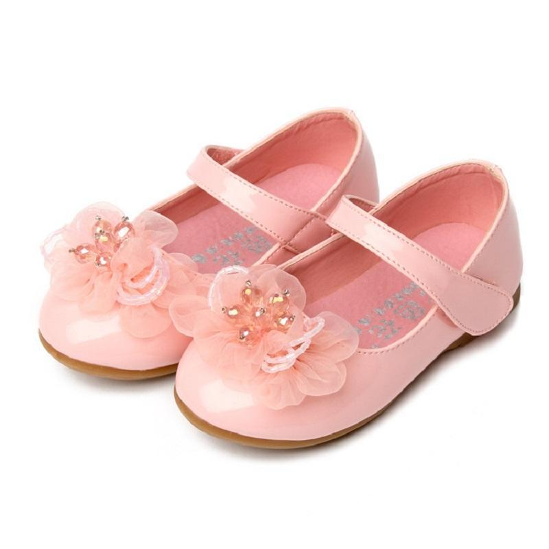 Sneakers High Quality Children'S Shoes For Girls White Flower Princess Girl Party Ceremony Peformance Dance Bead Flat With ShoesHig