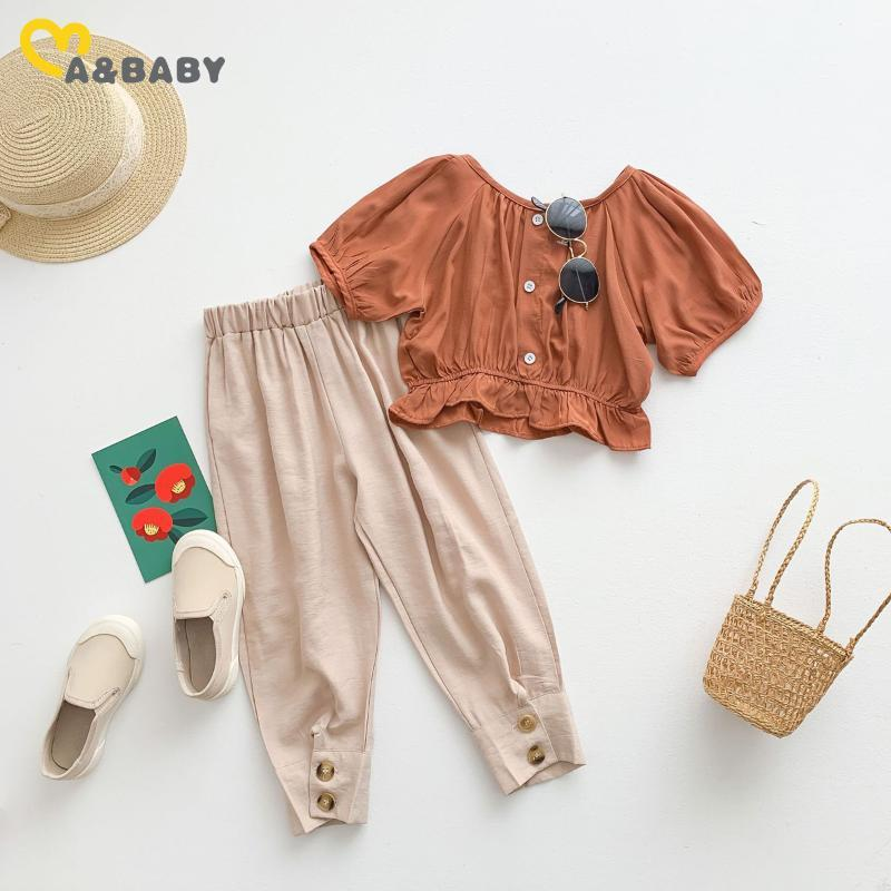 Ma&Baby 2-8Y Summer Child Kid Girls Clothing Set Fashion Puff Sleeve T Shirt Tops Pants Outfits Children Beach Holiday Costumes Sets