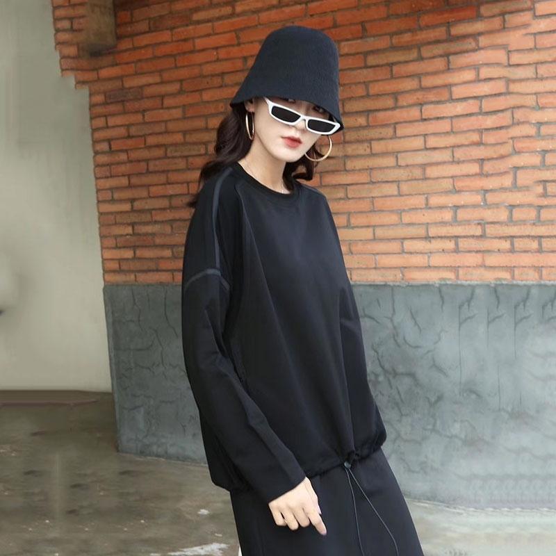 XITAO Simple Wild Sweatshirt Women Loose Plus Size Paneled Drawstring Top Korean Style Trend Autumn New Women Clothes WJ1203