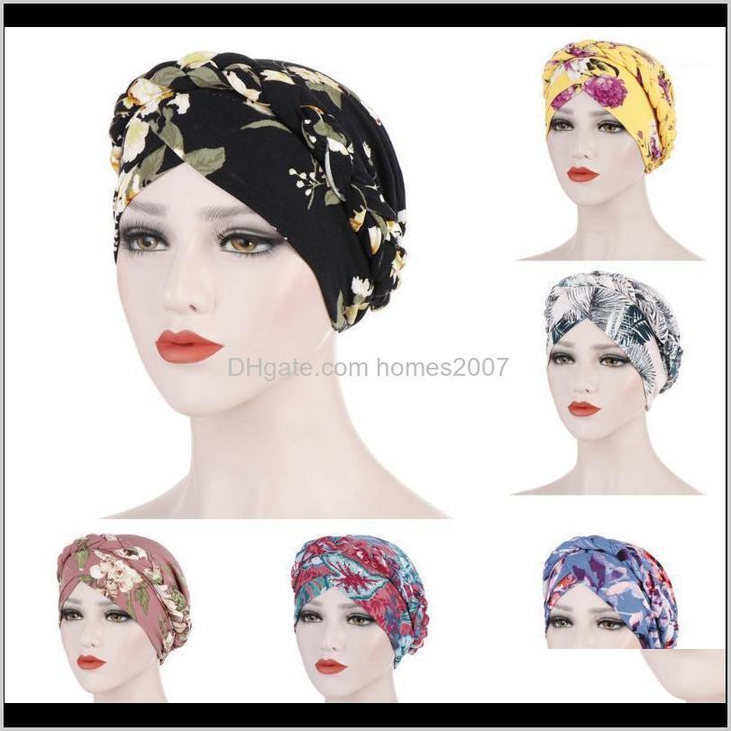 Sombreros delanteros sombreros gorras, bufandas guantes de moda aessiesfloral trenzado musulmán volante cáncer quimio beanie turbante envolver gorra gorra para mujer1