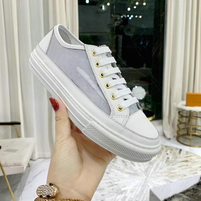 Sneakers stellari Bianco Donne rosa Scarpe con zip tessuto tecnico e pelle di vitello Lussurys Designer Sneaker Sneaker uomo Scarpe sportive