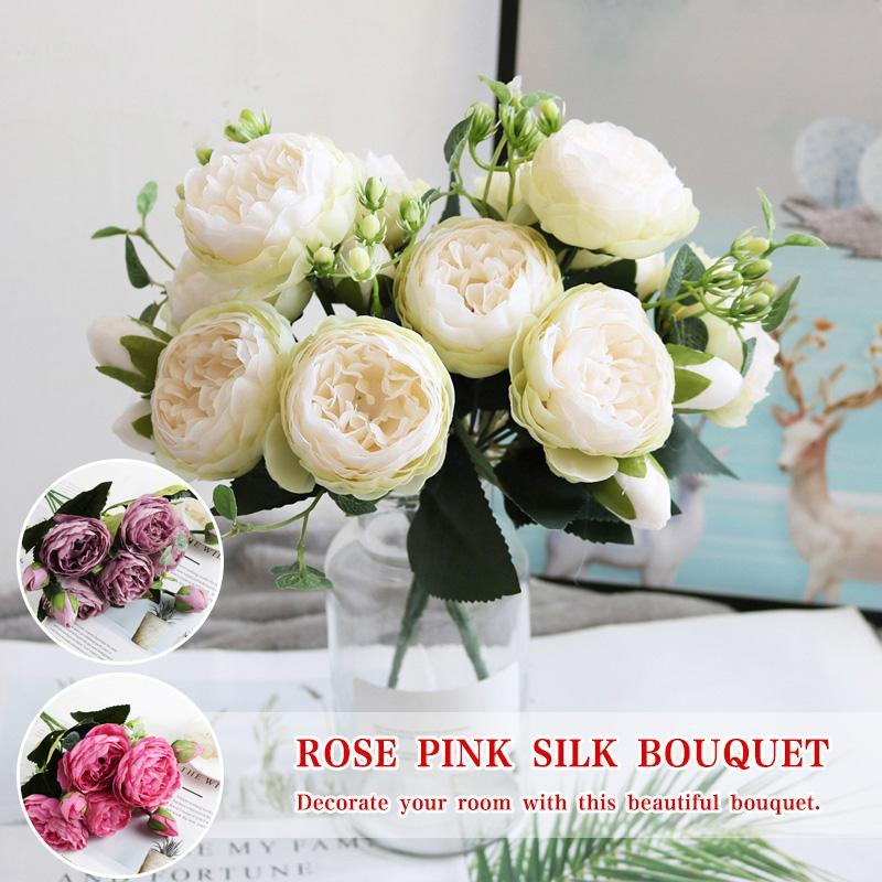 30cm Rose Pink Silk Bouquet Peony Artificial Flowers 5 Big Heads 4 Small Bud Bride Wedding Home Decoration Fake Faux Decorative & Wreaths