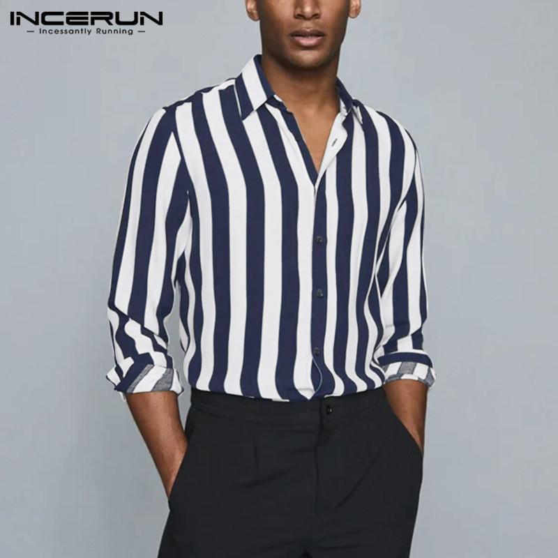 남자 스트라이프 셔츠 브랜드 칼라 긴 소매 탑스 버튼 스트리트웨어 캐주얼 블라우스 패션 캐미사스 hombre s-5xl 7 남자 셔츠