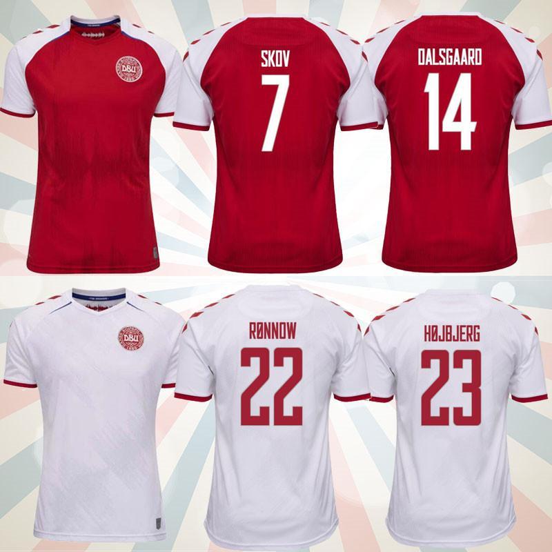 2021 Dinamarca Futebol Jersey 21 22 Dinamarca Camisetas Eriksen Hojbjerg Yussuf Christensen Home Away Camisa Nacional de Futebol Goleiro Maillot de pé