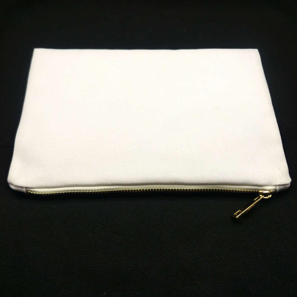 7x10in blank الأبيض 12oz بولي قماش حقيبة ماكياج للتسامي طباعة 12ozthick مستحضرات التجميل مع metallic zip نقل الحرارة 91TS