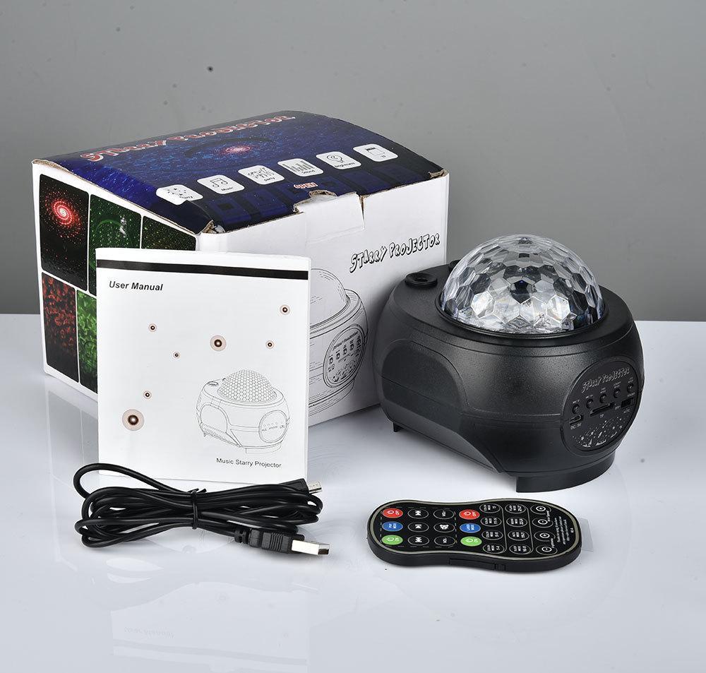 Uzaktan Kumanda Bluetooth Hoparlör Kırmızı ve Yeşil Yıldızlı Gökyüzü Projektör Lambası KTV Tatil Parti Dekorasyon LED Atmosfer Işık
