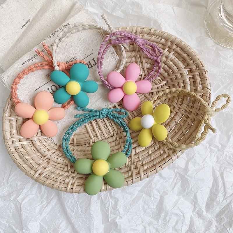 PCs / Set Kinder Süße Farben Acryl Blume Scrunchies Gummibänder Mädchen Schöne Elastische Haar Kinder Zubehör