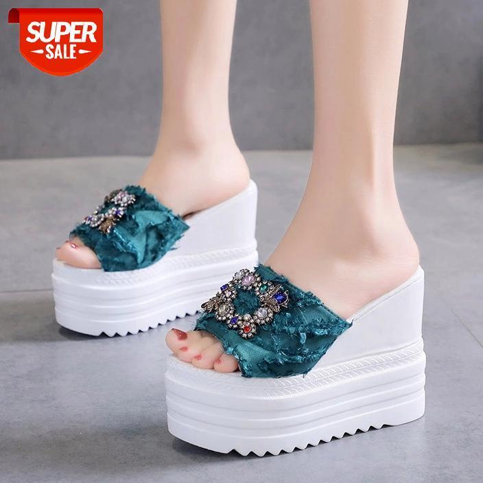 Super High Slipper Flip Flops Woman Sandals Platform Wedges Heels Slippers Creepers Causal Comfort Women Slides #7a3a