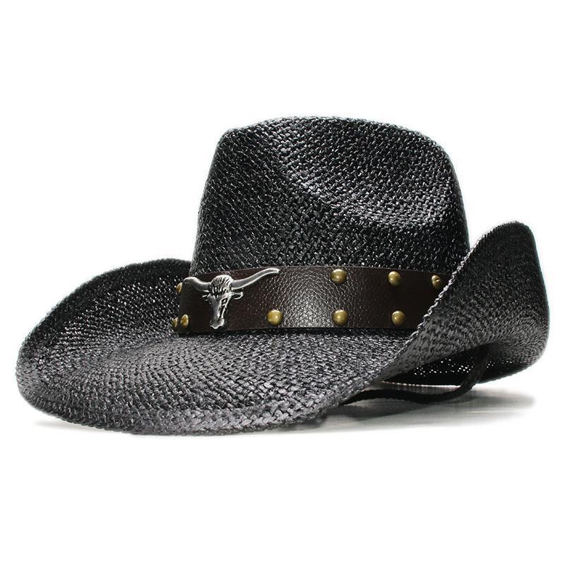 Stil Retro Öküz Kafası Deri Bant Rahat Kadın Erkek Rafya Saman Geniş Brim Plaj Kovboy Kovboy Kız Batı Güneş Koruma Şapka Şapka