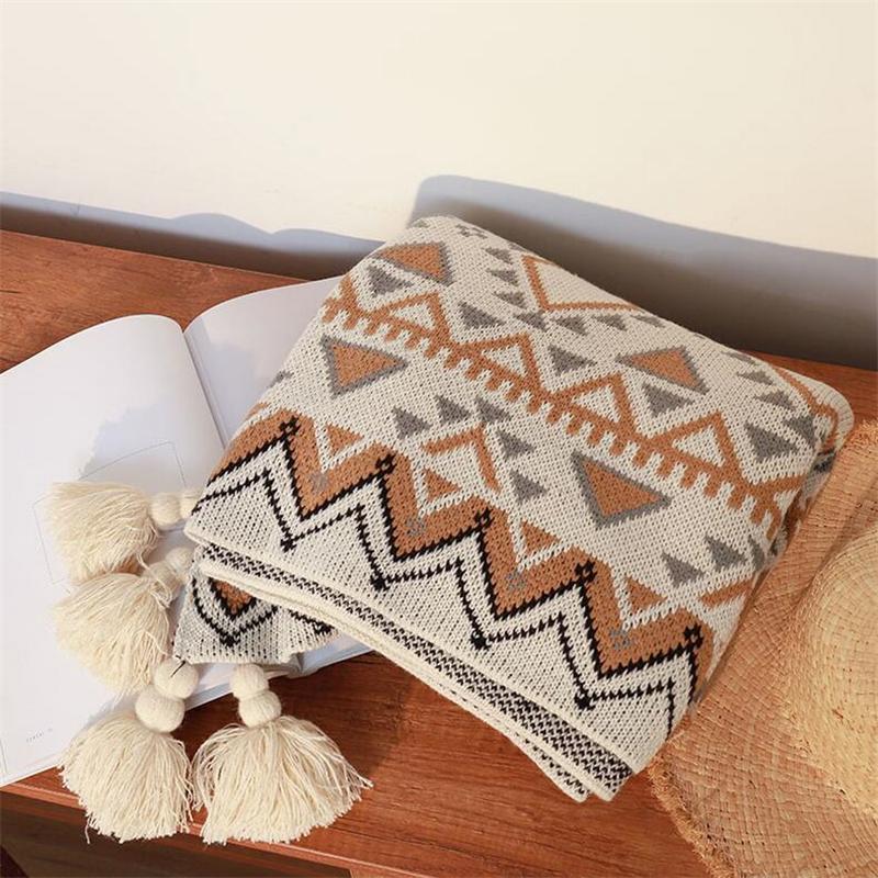 نمط هندسي بطانيات النسيج لينة مريحة أريكة بطانية نمط البوهيمي عارضة محبوك الصوف البطانيات المنزل الدافئة