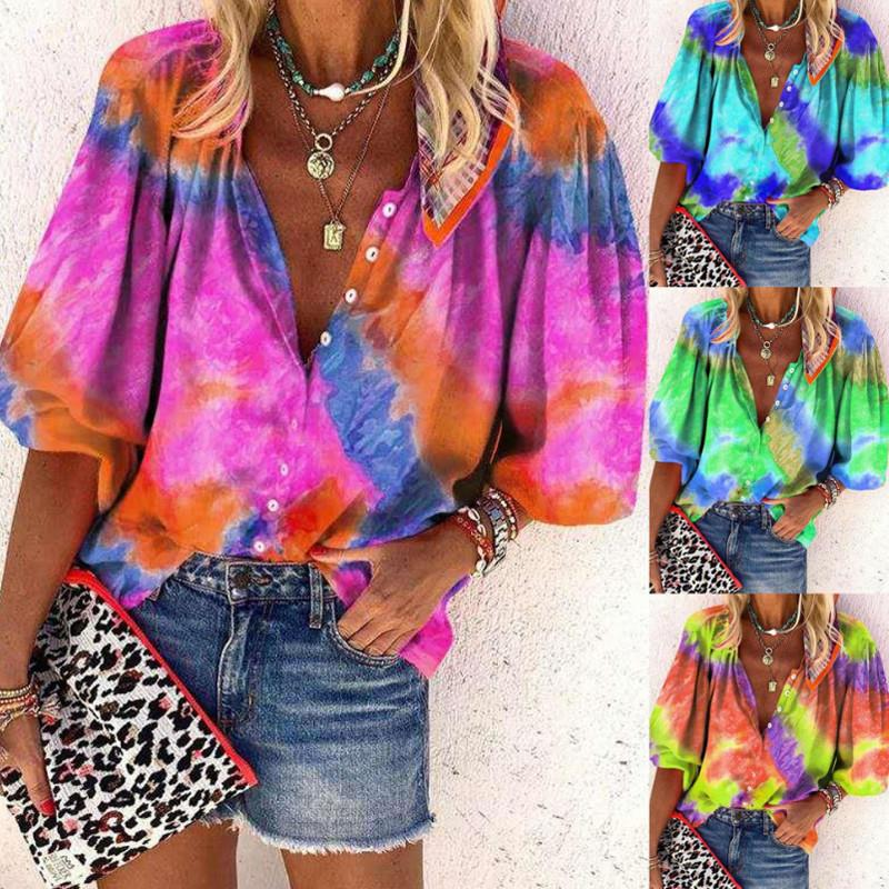 2021 High Quality Fashion Designer Ladies Womens T-Shirt Tie Dye Long Sleeve V Neck Buttons Factory Outlet