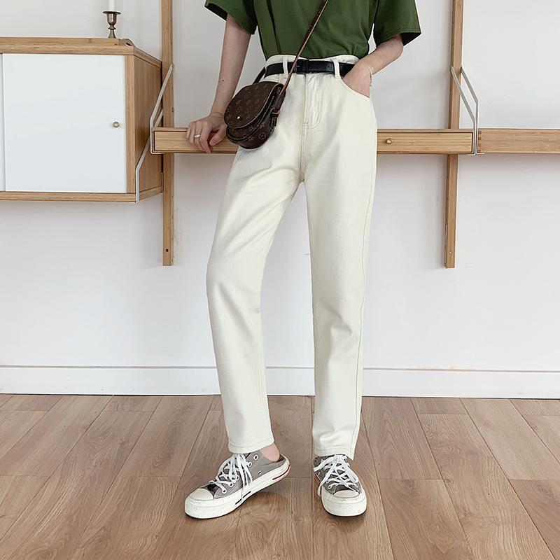 Kadın Kot 2021 Yüksek Bel Kadın Pantolon Rahat Harem Anne Yaz Sonbahar Vintage Denim Harajuku Katı Pantolon Pantalon Artı Boyutu