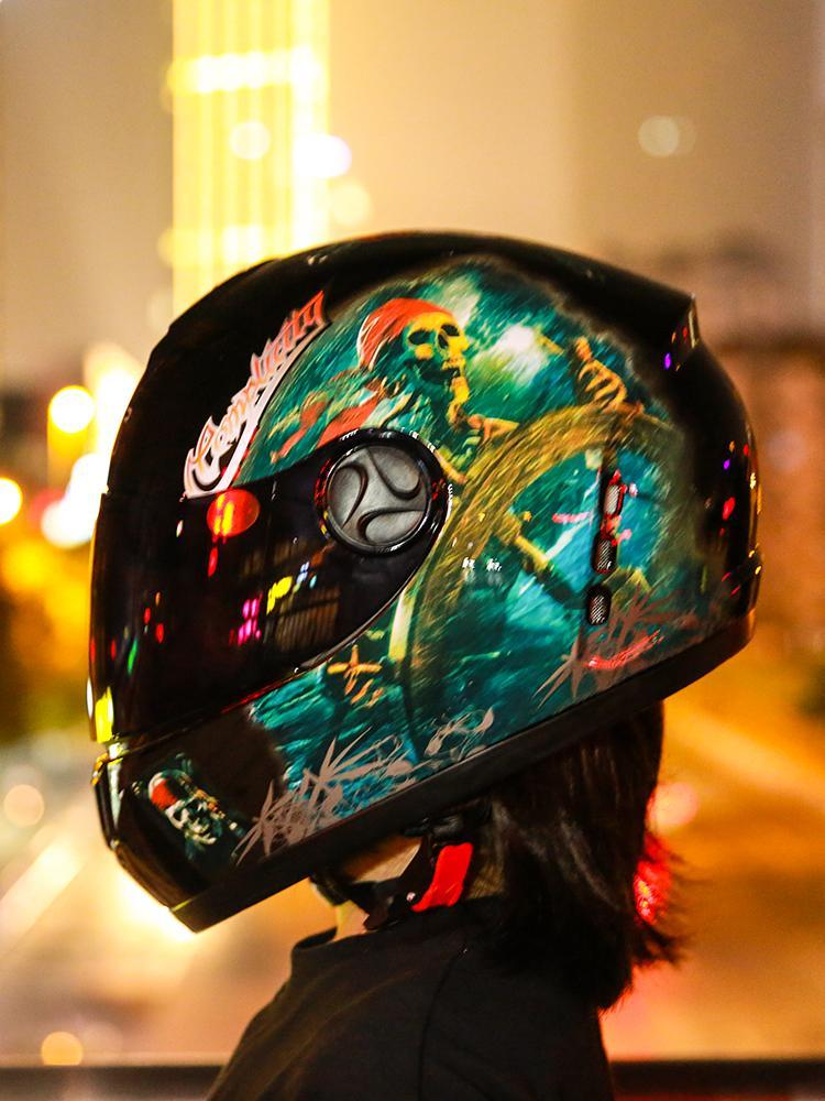 Motorcycle Helmets Helmet Men And Women Electric Full Face Four Seasons Summer Knight Head Gray Personality