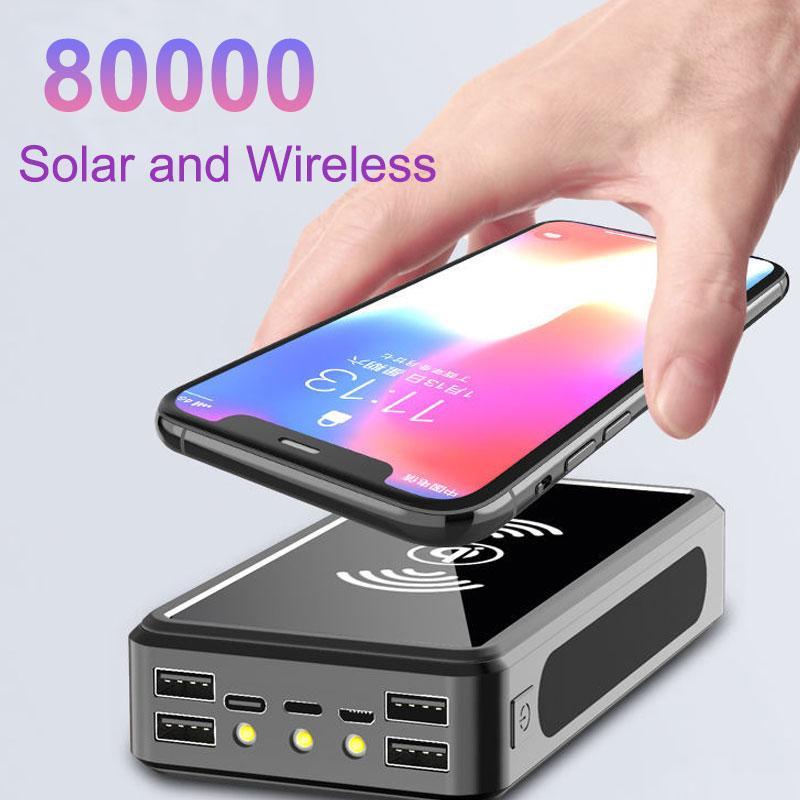 80000 mAh Kablosuz Güneş Güç Bankası Taşınabilir Telefon Hızlı Şarj Harici Şarj Yedekleme Pil Powerbank 4 USB LED Aydınlatma için Xiaomi iPhone Perakende Kutusu Ile