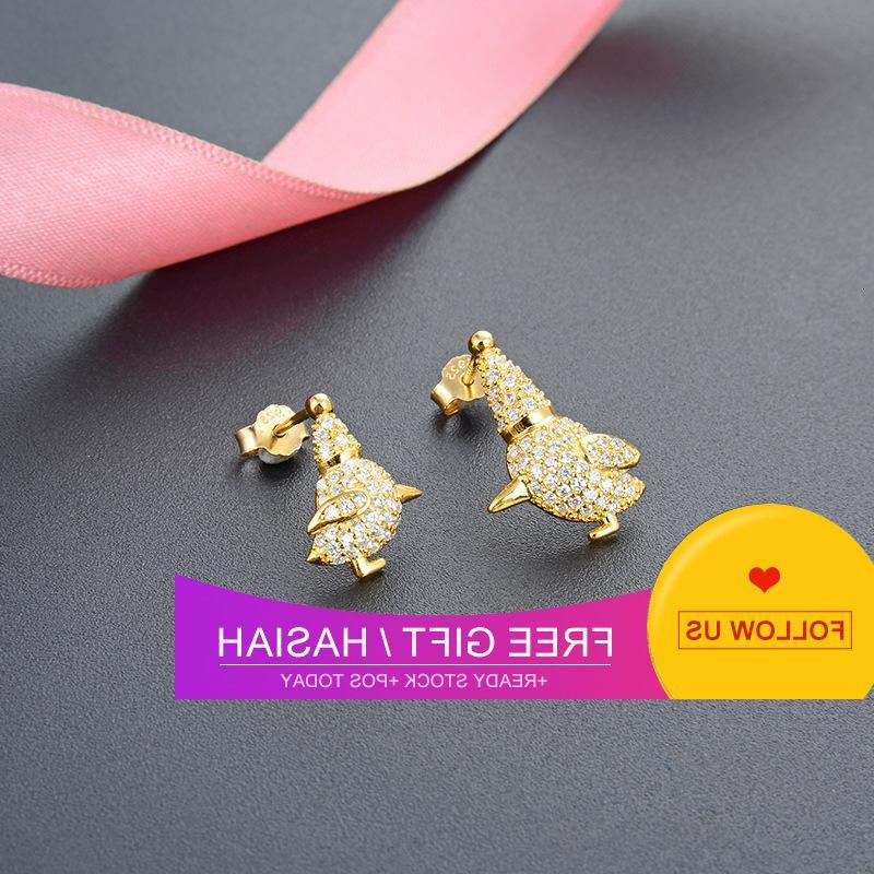 Semplice giapponese e coreano dello zodiaco del pollo dello zodiaco S925 argento intarsiato diamante carino orecchini per gallina ragazza