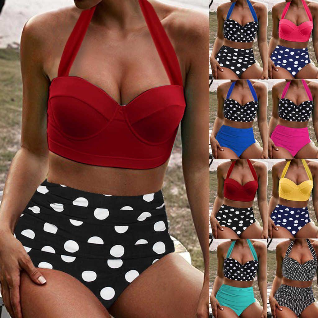 Costume da bagno Costumi da bagno da donna Bikini Vintage Due pezzi Retro Halter Halter Vita espansa Stampa alta Bikini 2021 Summer Bra Vendita Push up imbottita 7.2