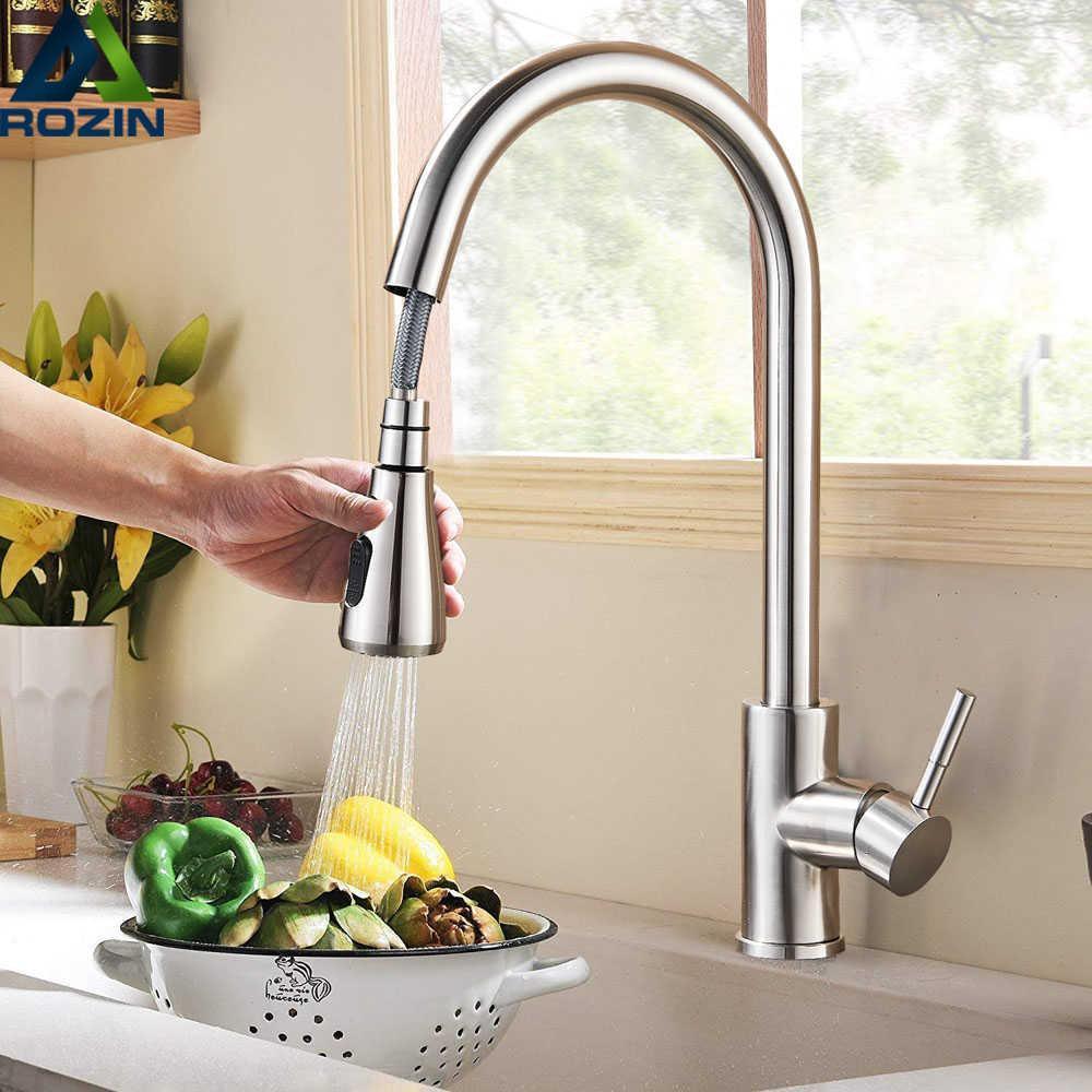 Rozin escovado torneira de cozinha de níquel único buraco puxar para fora bico de cozinha piaeira mixer tap stream pulverizador cabeça cromo / preto mixer tap 210724