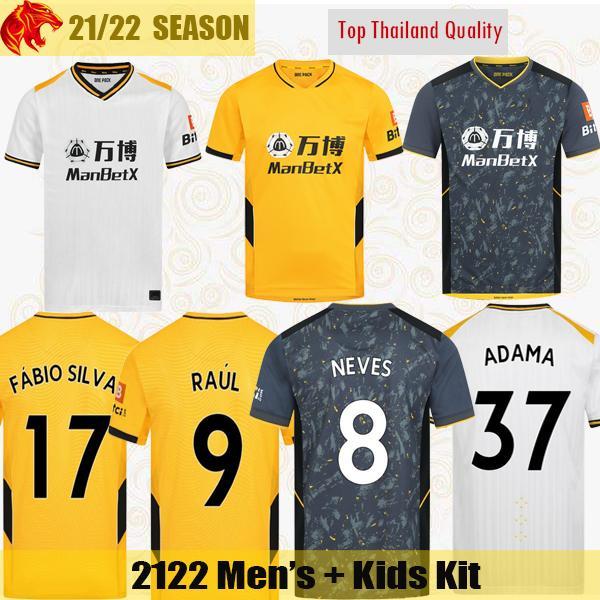 21 22 Wolves soccer jerseys RAUL Wolverhampton Wanderers 2021 2022 NEVES ADAMA FÁBIO SILVA PODENCE OTTO football shirt GIBBS WHITE Mens Jersey Kids Kit