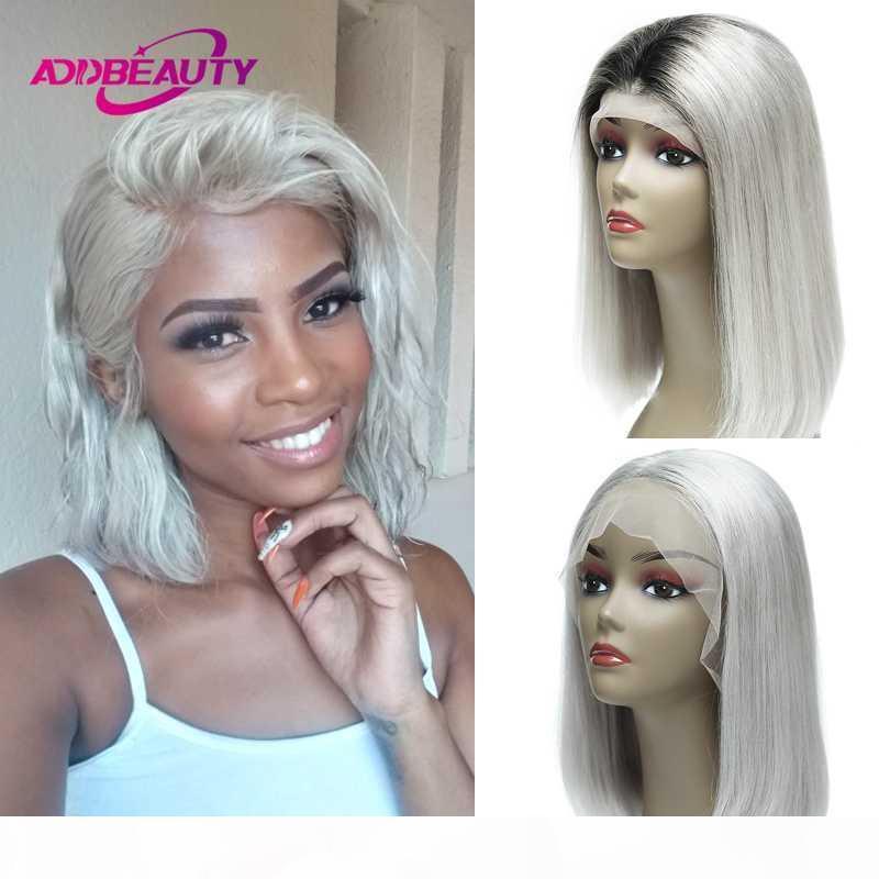 Gümüş Beyaz Ombre 1B Gri 13x6 Dantel Ön İnsan Saç Kısa Bob Peruk Siyah Kadınlar Için Renkli Orta Bölüm Düz Remy